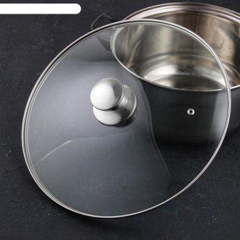 Крышка для сковороды и кастрюли стеклянная jarko, d=32 см, с ручкой из нер