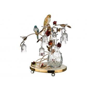 Набор для ликера на подставке 7 пр.попугаи: граф...