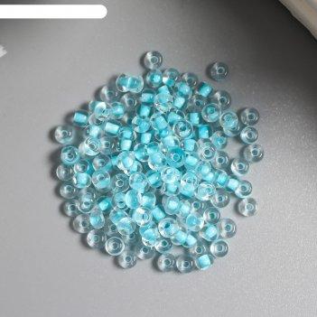 Бисер светящийся астра  8/0, 20 гр, голубой