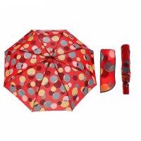 Зонт полуавтоматический «круги», 3 сложения, 8 спиц, r = 53 см, цвет красн