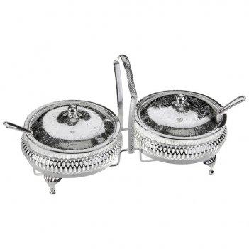 Набор вазочек для варенья с крышкой и ложками queen anne 11,5см, (2+2)