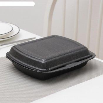 Ланч-бокс одноразовый, 24,7x20,6x7 см, 1 секция, 200 шт/уп, цвет чёрный