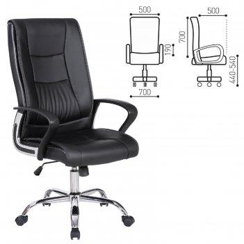 Кресло офисное brabix forward ex-570, хром, экокожа, черное