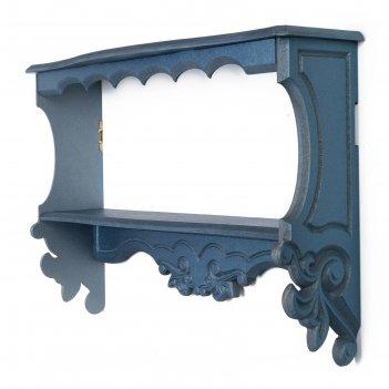 Полка навесная прованс, 2 полки, синяя, 49x33x13 см