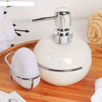 Дозатор бабл для моющего средства с подставкой для губки, цвет белый