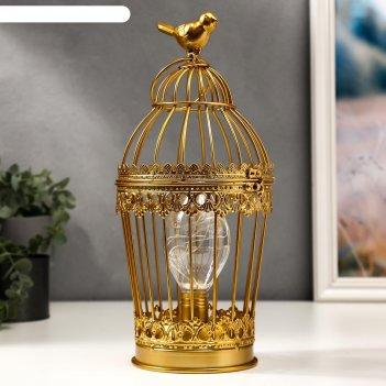 Ночник клетка с птичкой led от батареек 3хааа золото 15х15х33 см