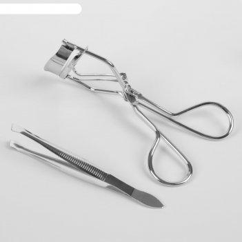 Набор для макияжа, 2 предмета, цвет серебряный