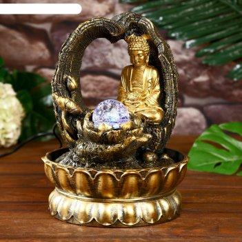 Фонтан настольный от сети, подсветка будда - медитация в лесу 28х20х20 см