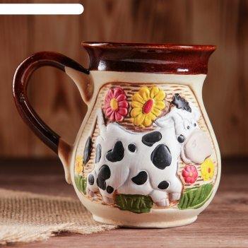 Чашка молочная корова цветная 0,3л