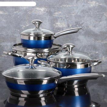 Набор посуды 4 предмета блу: кастрюли 5,1/3,2л, ковш 1,6 л, сотейник с а/п