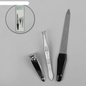 Набор маникюрный 3в1: пилка металлическая, книпсер, пинцет