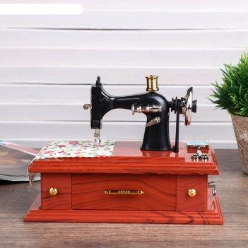 Шкатулка пластик музыкальная механическая мамина швейная машинка 9,5х18х13
