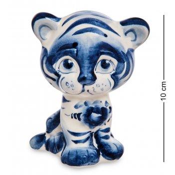 Гл- 25 фигурка тигренок арни (гжельский фарфор)