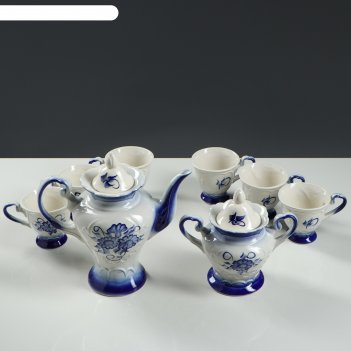 Чайный сервиз ева гжель 8 предметов: чайник-0,5 л., сахарница, 6 чашек-0,2