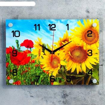 Часы настенные, серия: цветы, подсолнухи и маки 25х35