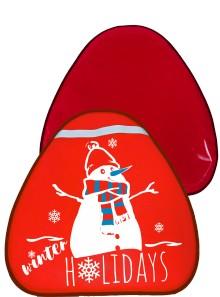 Мт12417 сани-ледянка треугольная снеговик цвет красный, 52*54см