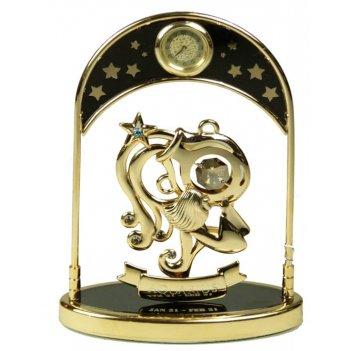 Фигурка декоративная с часами - знак зодиака водолей 14см (у