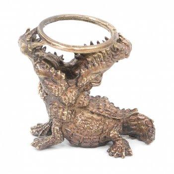 Подставка для шара крокодил бронза
