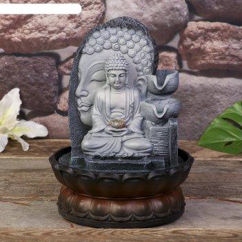 Фонтан настольный от сети, подсветка будда серый мрамор 30х20,5х20,5 см