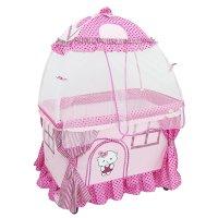 Детская кроватка шатер, с балдахином и люлькой-гамаком, цвета микс