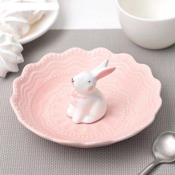 Блюдце 15 см кружева. кролик, цвет розовый