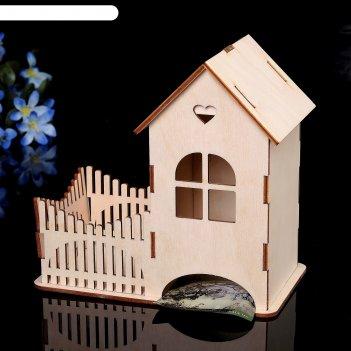 Чайный домик «домик с сердцем» 10х17х17см
