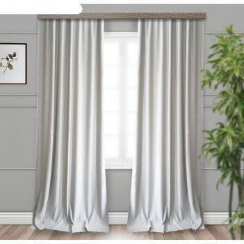 Шторы портьерные «матовый», размер 190 x 275 см-2 шт, блэкаут, серый