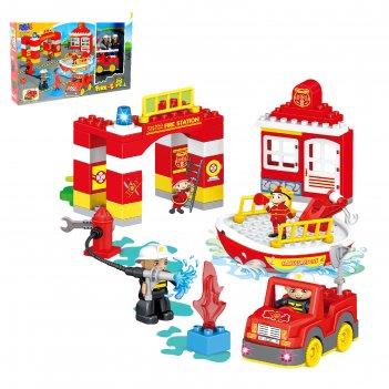 Конструктор «пожарная станция», 54 детали, световые и звуковые эффекты, ра