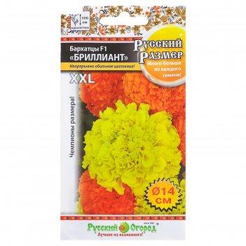 Семена цветов бархатцы бриллиант f1 серия русский размер, о, 15 шт