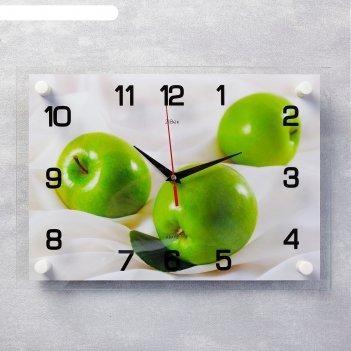Часы настенные, серия: кухня, яблоки, 25х35  см, микс