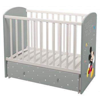 Детская кроватка polini kids disney baby «микки маус» маятник, цвет белый-