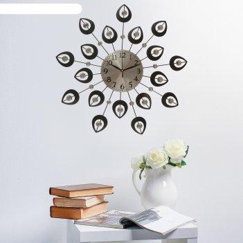 Часы настенные, серия: ажур, чёрные лепестки, кристаллы, d=50 см микс