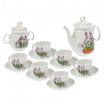 Сервиз чайный реванш. лаванда, 14 предметов: чайник 750 мл, сахарница 350