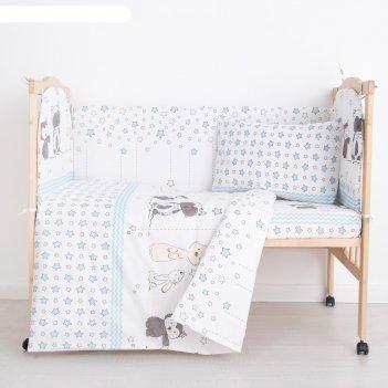 Комплект в кроватку (6 предметов) зверята, бязь, хл100%