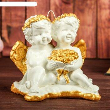 Сувенир амуры, подвесной, с золотом, 13 см