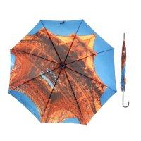 Зонт женский flioraj эйфелева башня, трость, автомат, ручка кожа