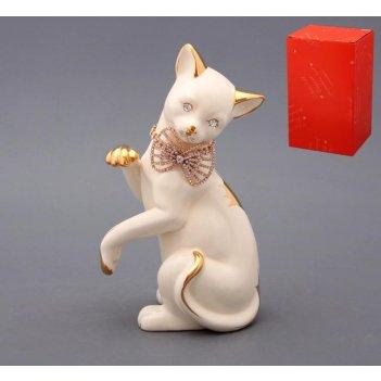 Фигурка кошка с цепочкой белая высота=27 см