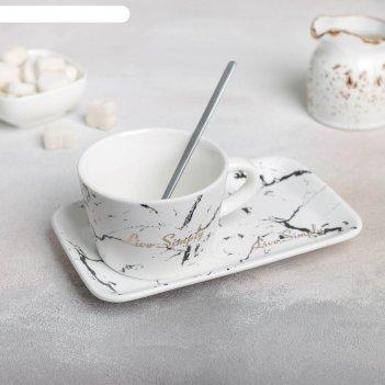 Чайная пара «мрамор»: чашка 250 мл, блюдце, ложка, цвет белый