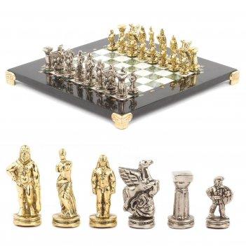 Шахматы спартанцы доска 280х280 мм мрамор офиокальцит металл