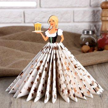 Салфетница девушка официантка с пивом с косами, цветная наклейка