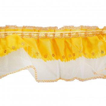 Тесьма атлас желтый на белом капроне 9см, в рулоне 10 м.