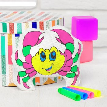 Игрушка-раскраска крабик, маркеры 4 цвета, смываются водой
