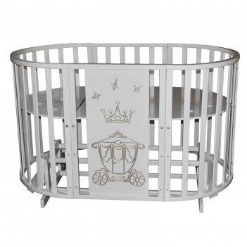 Детская кровать «северянка-3 корона», 6 в 1, универсальный маятник, колеса