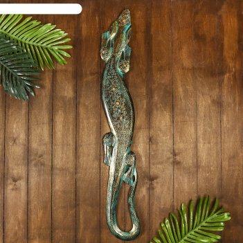Панно дерево золотой геккон 97х13х1,5 см