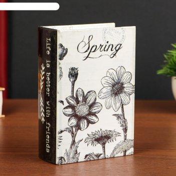 Шкатулка-книга дерево кожзам весна. цветы 16х11х4,5 см