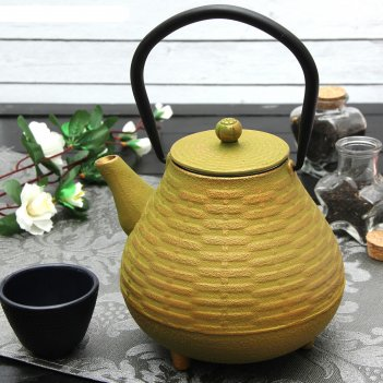 Чайник с ситом 1 л плетение, цвет зеленый