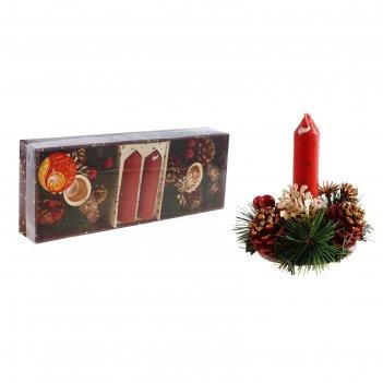 Подсвечник шишка со свечой красный 10*26 см