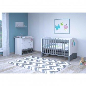 Комплект в кроватку «монстрики», 7 предметов, цвет белый/серый