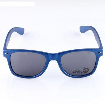 Очки солнцезащитные wayfarer, оправа синяя с овалами, линзы чёрные