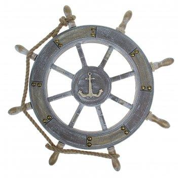 Штурвал интерьерный, серо-бронзовый с веревкой, 65х65х4 см